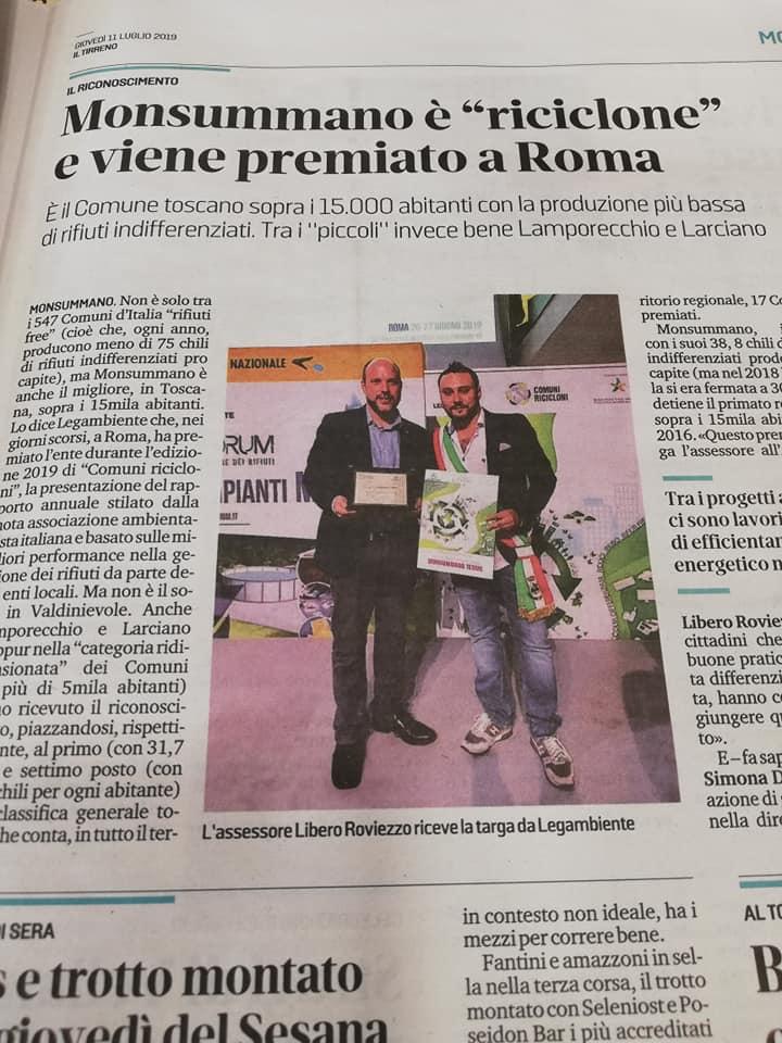 """Articolo """"Il Tirreno"""""""